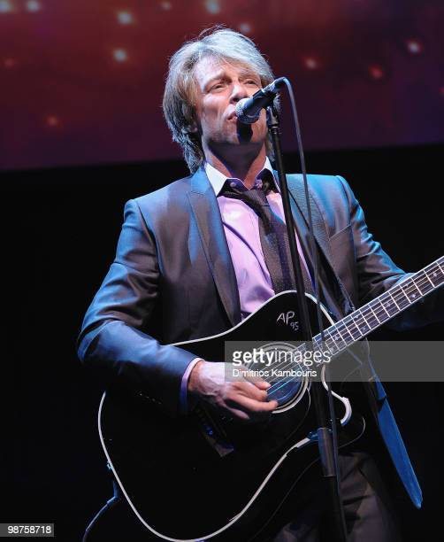 Jon Bon Jovi performs during the DKMS' 4th Annual Gala Linked Against Leukemia at Cipriani 42nd Street on April 29 2010 in New York City