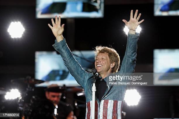 Jon Bon Jovi performs live on stage at Estadio Vicente Calderon on June 27 2013 in Madrid Spain