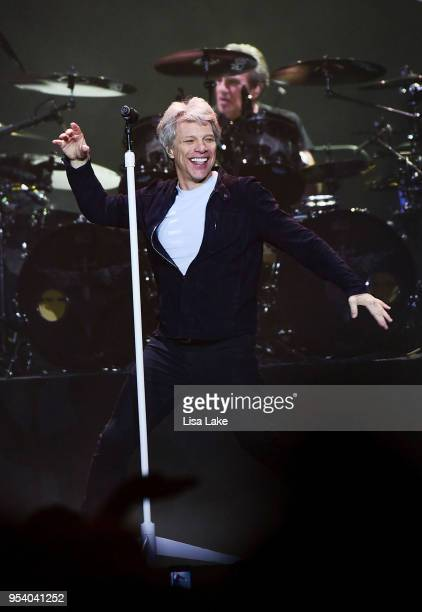 Jon Bon Jovi performs live on stage during Bon Jovi's 'This House is Not For Sale' tour at PPL Center on May 2 2018 in Allentown Pennsylvania