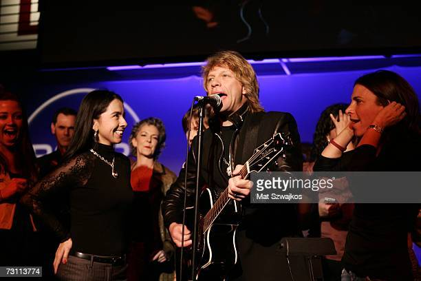 "Jon Bon Jovi performs on stage at Kenneth Cole's ""R.S.V.P. To HELP"" benefit hosted by Kenneth Cole and Jon Bon Jovi at the Tribeca Rooftop on January..."