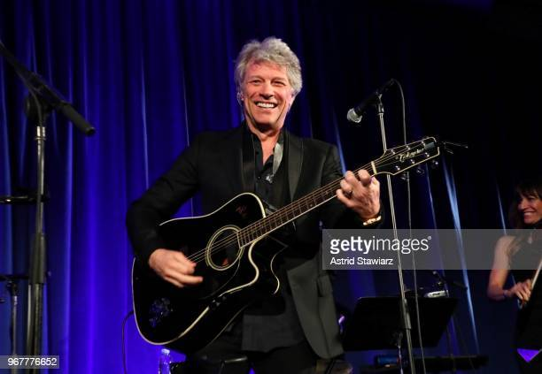 Jon Bon Jovi performs on stage at The Hospital for Special Surgery 35th Tribute Dinner at the American Museum of Natural History on June 4 2018 in...
