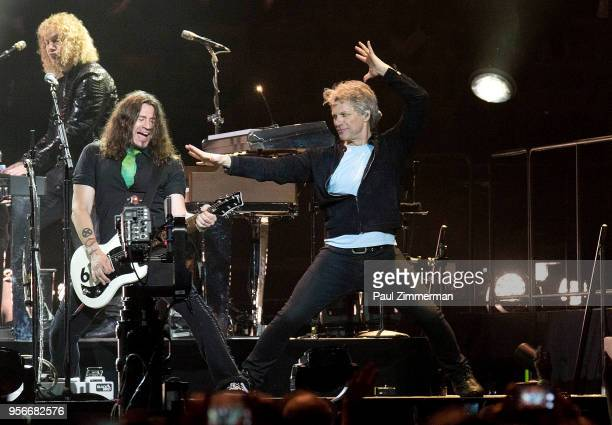 Jon Bon Jovi performs on stage during Bon Jovi's 'This House is Not For Sale' tour at Madison Square Garden on May 9 2018 in New York City