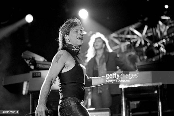 Jon Bon Jovi performs on stage with Bon Jovi at Milton Keynes Bowl United Kingdom 1993