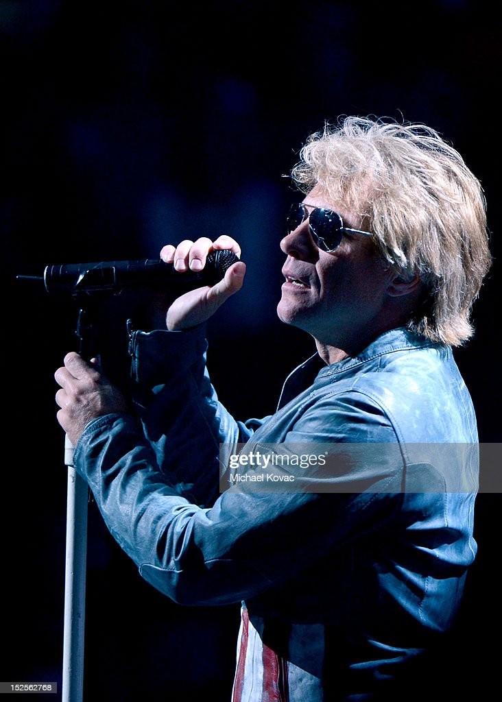Jon Bon Jovi performs onstage during the 2012 iHeartRadio Music Festival at the MGM Grand Garden Arena on September 21, 2012 in Las Vegas, Nevada.