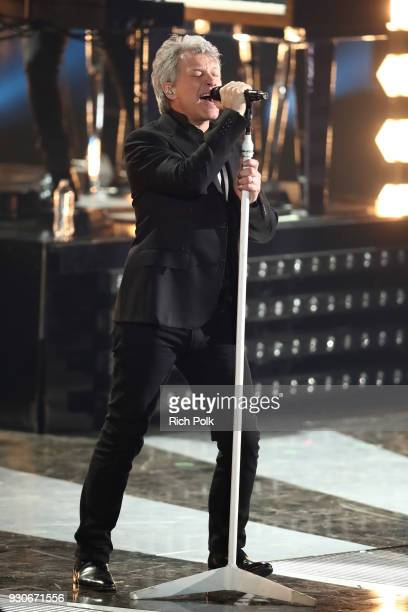Jon Bon Jovi performs onstage during the 2018 iHeartRadio Music Awards which broadcasted live on TBS TNT and truTV at The Forum on March 11 2018 in...