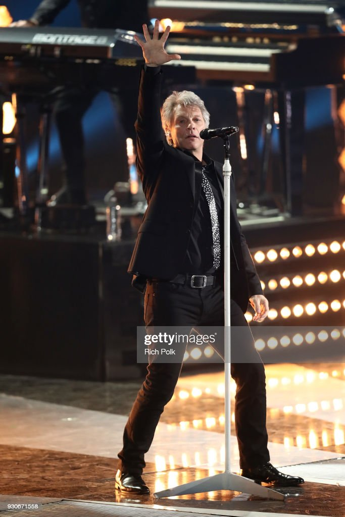 Jon Bon Jovi performs onstage during the 2018 iHeartRadio Music Awards which broadcasted live on TBS, TNT, and truTV at The Forum on March 11, 2018 in Inglewood, California.
