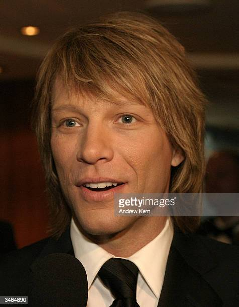 Jon Bon Jovi poses at the Entertainment Industry Foundation's colon cancer benefit on the QM2 cruise ship at pier 92 on April 24 Manhattan New York
