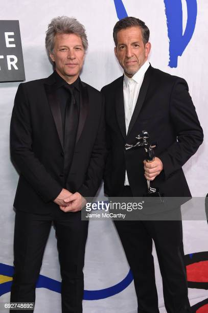 Jon Bon Jovi poses with designer Kenneth Cole winner of the Social Impact Award on the Winners Walk during the 2017 CFDA Fashion Awards at...