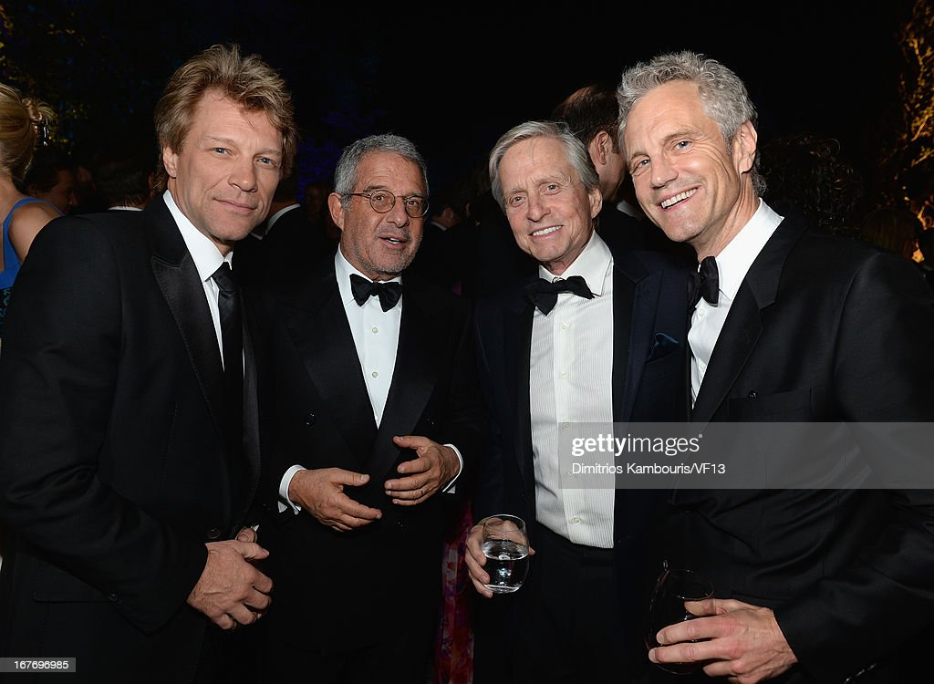 Jon Bon Jovi, Ron Meyers, Michael Douglass and John Sykes attends the Bloomberg & Vanity Fair cocktail reception following the 2013 WHCA Dinner at the residence of the French Ambassador on April 27, 2013 in Washington, DC.