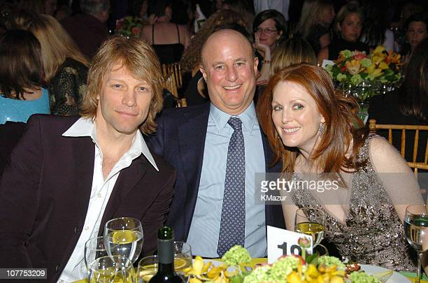 Jon Bon Jovi Ron Perelman and Julianne Moore during 10th Annual National Breast Cancer Coalition Gala Hosted by Revlon at Manhattan Center's Grand...