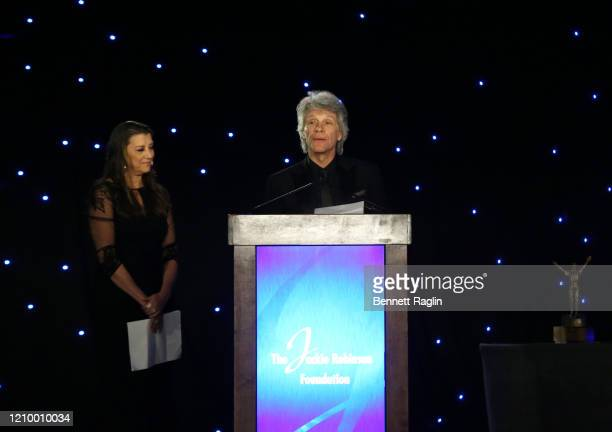 Jon Bon Jovi speaks on stage as he and Dorothea Hurley accept their Humanitarian Award during Jackie Robinson Foundation Robie Awards Dinner at...
