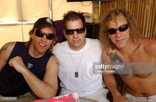Jon Bon Jovi Tommy Lipnick and David Bryan during Hard Rock Hotel and Casino 10th Anniversary Weekend Party at REHAB at The Hard Rock Hotel and...