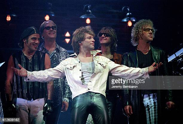 Jon Bon Jovi with his band on stage in the Omnisport Palace in Bercy