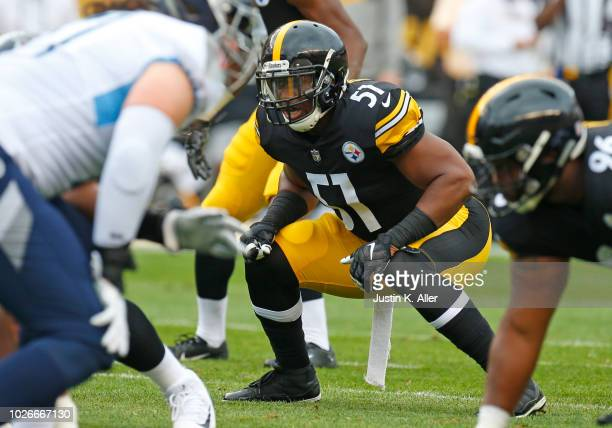 Jon Bostic of the Pittsburgh Steelers in action against the Tennessee Titans during a preseason game on August 25 2018 at Heinz Field in Pittsburgh...