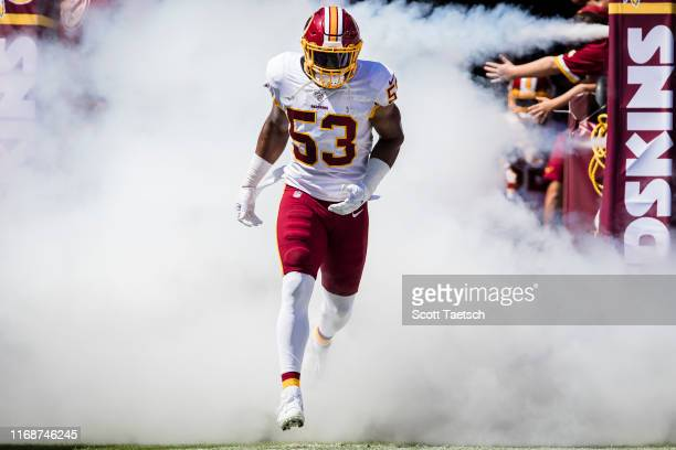Jon Bostic of the Washington Redskins takes the field before the game against the Dallas Cowboys at FedExField on September 15 2019 in Landover...