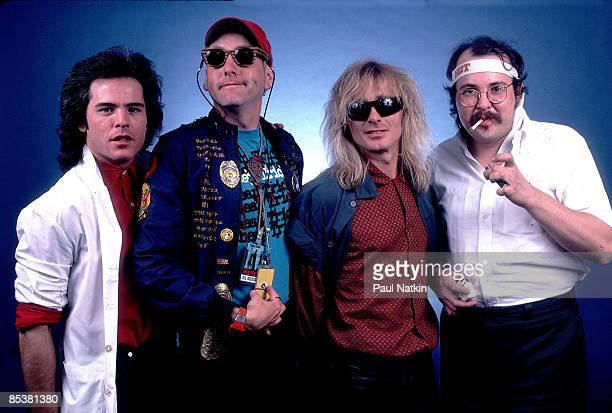 Jon Brandt Rick Nielsen Robin Zander and Bun E Carlos of Cheap Trick on 9/20/85 in Chicago Il