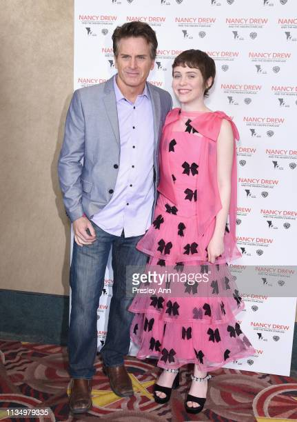 Jon Briddell and Sophia Lillis attend the red carpet premiere of 'Nancy Drew and the Hidden Staircase' at AMC Century City 15 on March 10 2019 in...