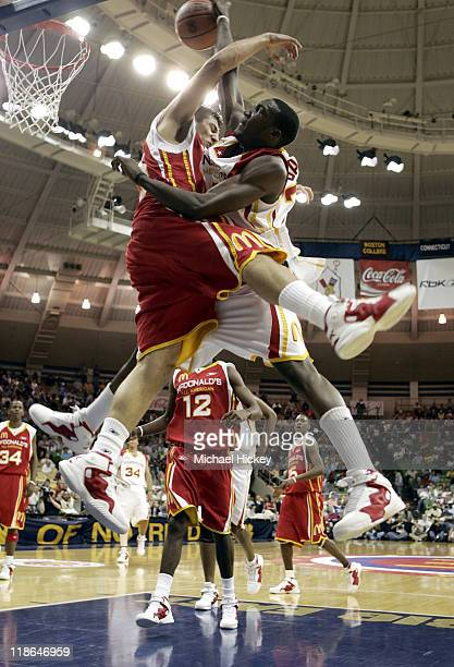 Jon Brockman of Snohomish, WA and Korvotney Barber of Manchester, GA plays in the McDonalds All American High School Basketball game at the Joyce...