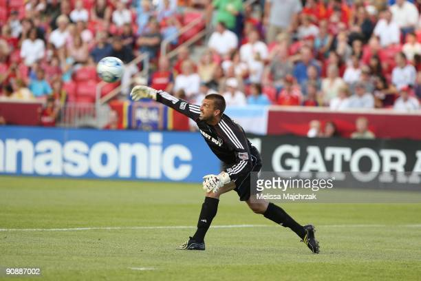 Jon Busch of Chicago Fire throws the ball out against the Real Salt Lake at Rio Tinto Stadium on September 12 2009 in Sandy Utah