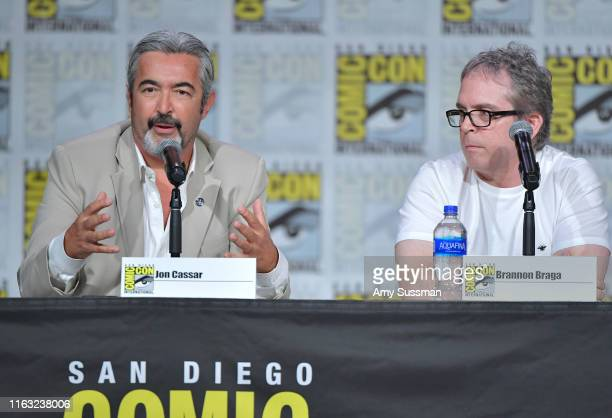 Jon Cassar and Brannon Braga speak at The Orville Panel during 2019 ComicCon International at San Diego Convention Center on July 20 2019 in San...