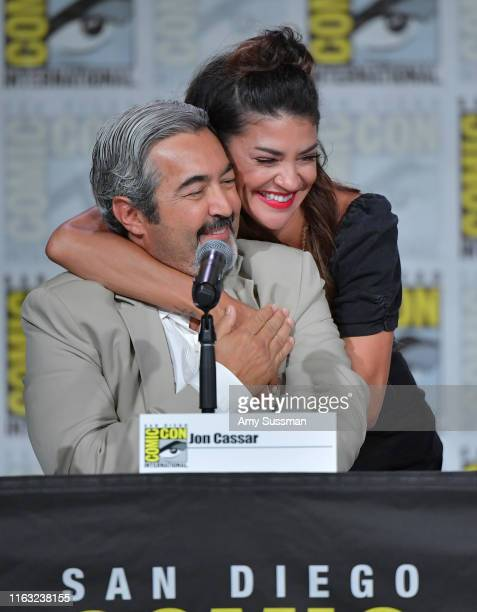 Jon Cassar and Jessica Szohr speak at The Orville Panel during 2019 ComicCon International at San Diego Convention Center on July 20 2019 in San...