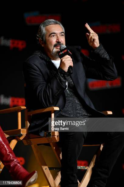 Jon Cassar speaks on stage during Hulu's The Orville at New York Comic Con 2019 Day 4 at Jacob K Javits Convention Center on October 06 2019 in New...