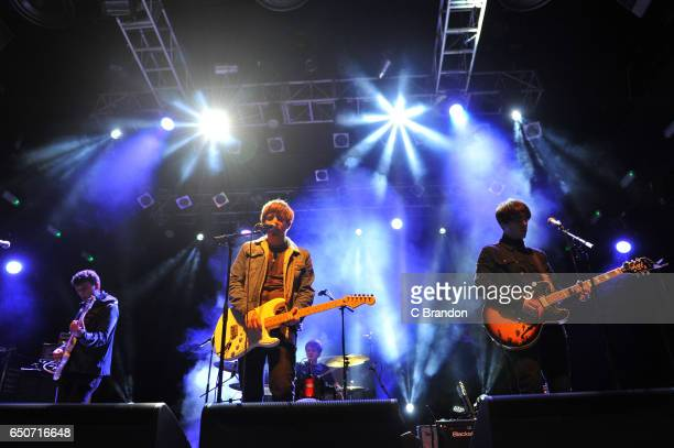 Jon Coe Martin Cunliffe Aidan Butler and Michael Bishop of Ravellas perform on stage at Koko on March 9 2017 in London United Kingdom