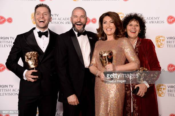 Jon Cowen presenter Fred Sirieix Jane McDonald and Fi CotterCriag with the Features award for 'Cruising With Jane McDonald' pose in the press room at...
