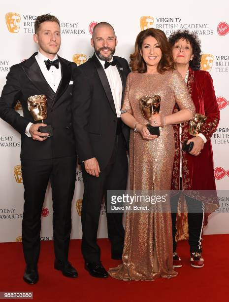 Jon Cowen, presenter Fred Sirieix, Jane McDonald and Fi Cotter-Criag with the Features award for 'Cruising With Jane McDonald' attend the Virgin TV...