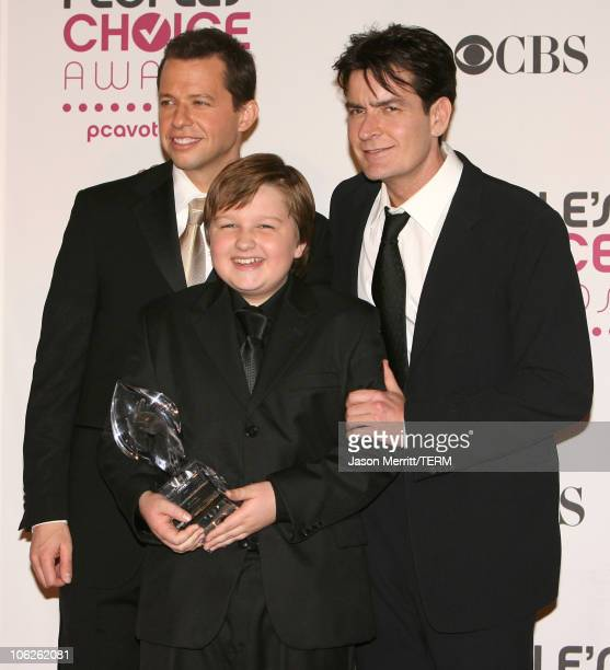 Jon Cryer Angus T Jones and Charlie Sheen winners Favorite TV Comedy for Two and a Half Men