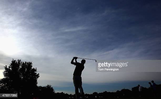 Jon Curran hits a tee shot on the 13th hole during Round Three of the ATT Byron Nelson at the TPC Four Seasons Resort Las Colinas on May 30 2015 in...