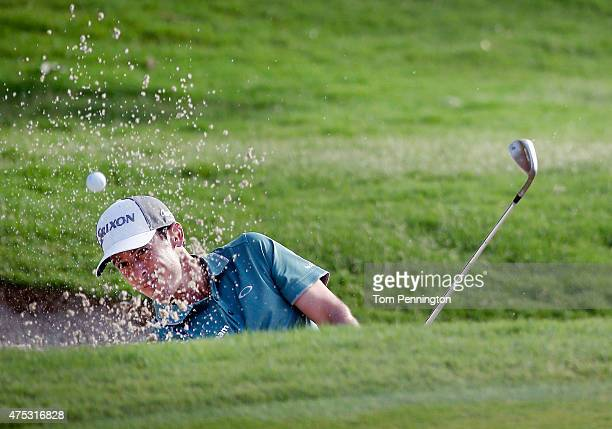 Jon Curran hits out of a bunker on the 10th hole during Round Three of the ATT Byron Nelson at the TPC Four Seasons Resort Las Colinas on May 30 2015...