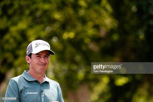 Jon Curran looks on from the tee box on the first hole during Round Three of the ATT Byron Nelson at the TPC Four Seasons Resort Las Colinas on May...