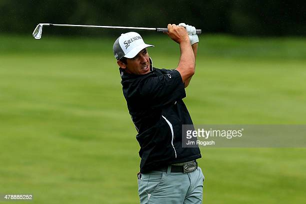 Jon Curran plays a shot on the third hole during the final round of the Travelers Championship at TPC River Highlands on June 28 2015 in Cromwell...