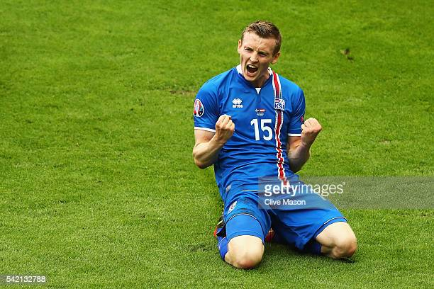 Jon Dadi Bodvarsson of Iceland celebrates scoring his team's first goal during the UEFA EURO 2016 Group F match between Iceland and Austria at Stade...