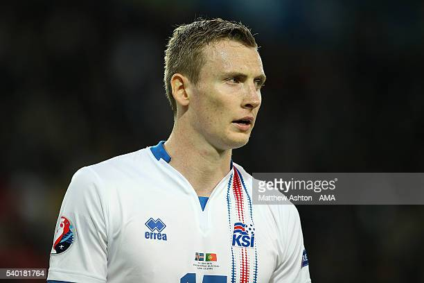 Jon Dadi Bodvarsson of Iceland in action during the UEFA EURO 2016 Group F match between Portugal and Iceland at Stade GeoffroyGuichard on June 14...