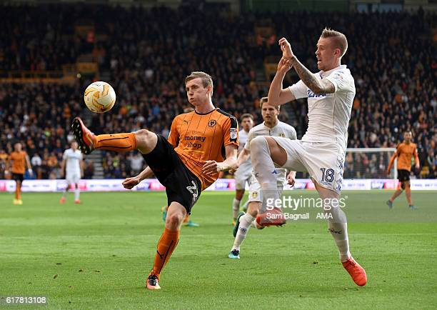 Jon Dadi Bodvarsson of Wolverhampton Wanderers and Pontus Jansson of Leeds United during the Sky Bet Championship match between Wolverhampton...