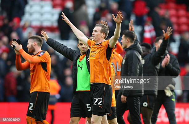 Jon Dadi Bodvarsson of Wolverhampton Wanderers and team mates celebrate victory the Emirates FA Cup Fourth Round match between Liverpool and...