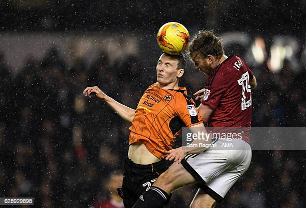 Jon Dadi Bodvarsson of Wolverhampton Wanderers and Tim Ream of Fulham during the Sky Bet Championship match between Wolverhampton Wanderers and...