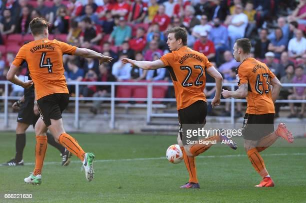 Jon Dadi Bodvarsson of Wolverhampton Wanderers celebrates after scoring a goal to make it 31 during the Sky Bet Championship match between Bristol...