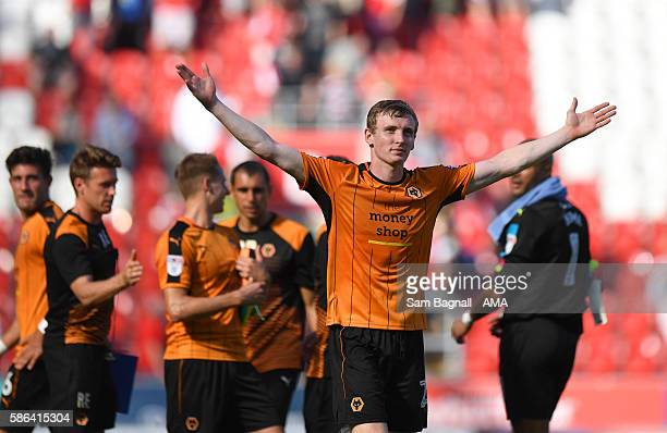 Jon Dadi Bodvarsson of Wolverhampton Wanderers celebrates at full time after the Sky Bet Championship match between Rotherham United v Wolverhampton...