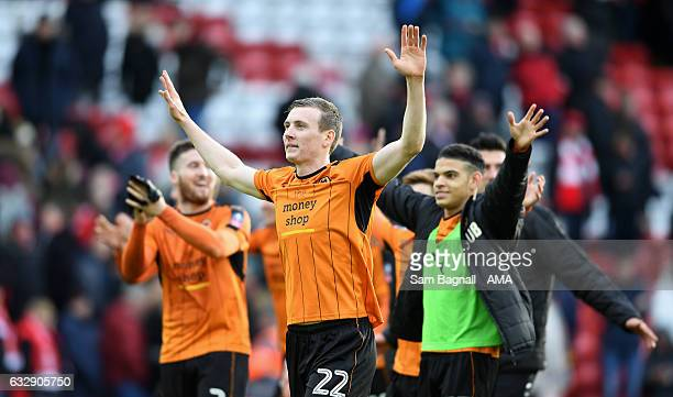 Jon Dadi Bodvarsson of Wolverhampton Wanderers celebrates at full time during The Emirates FA Cup Fourth Round between Liverpool and Wolverhampton...