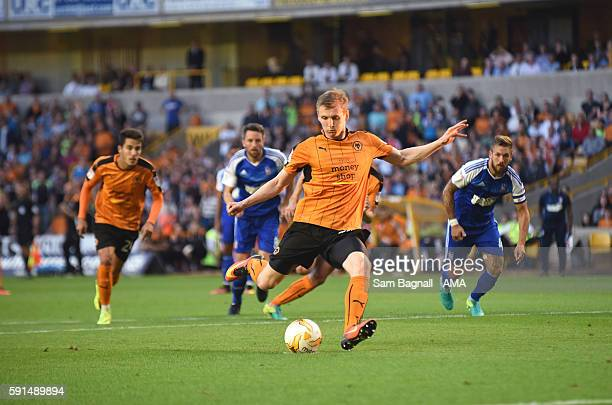 Jon Dadi Bodvarsson of Wolverhampton Wanderers fails to score from the penalty spot during the Sky Bet Championship match between Wolverhampton...
