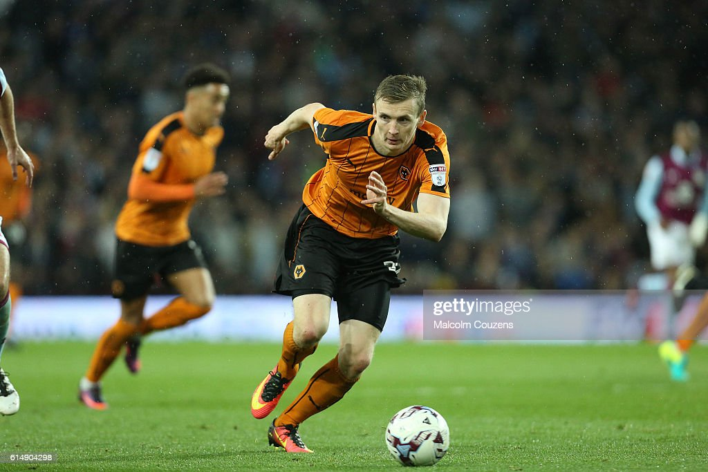 Jon Dadi Bodvarsson of Wolverhampton Wanderers in action during the Sky Bet Championship match between Aston Villa and Wolverhampton Wanderers on October 15, 2016 in Birmingham, England.