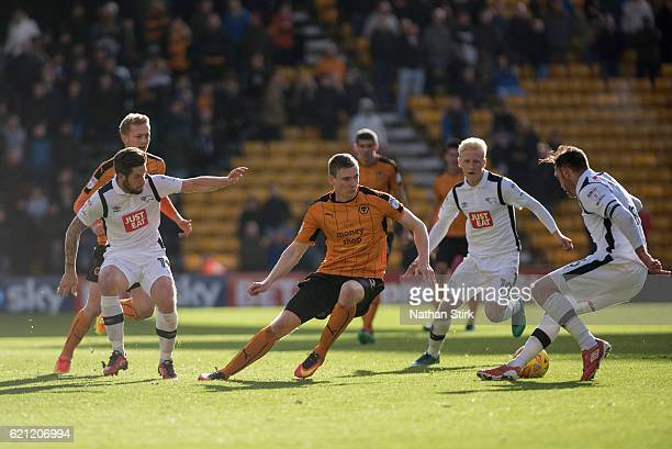 Jon Dadi Bodvarsson of Wolverhampton Wanderers in action during the Sky Bet Championship match between Wolverhampton Wanderers and Derby County at...