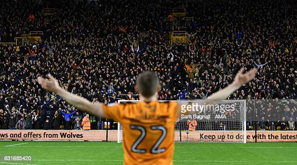 Jon Dadi Bodvarsson of Wolverhampton Wanderers performs the Icelandic Clap in front of the fans of Wolverhampton Wanderers at full time during the...