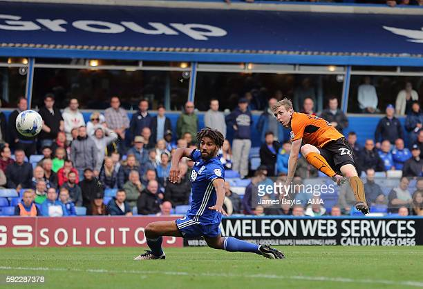 Jon Dadi Bodvarsson of Wolverhampton Wanderers scores a goal to make it 13 during the Sky Bet Championship fixture between Birmingham City and...