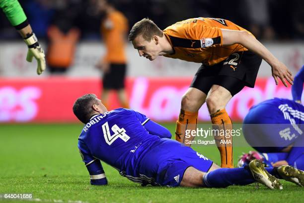 Jon Dadi Bodvarsson of Wolverhampton Wanderers tells Paul Robinson of Birmingham City what cheat he is after faking a head injury during the Sky Bet...