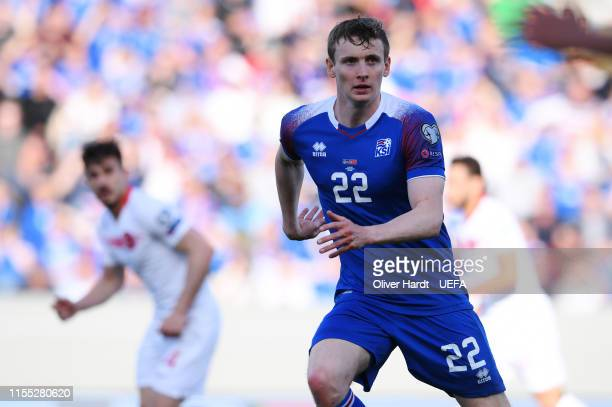 Jon Dadi Boedvarsson of Iceland in action during the UEFA Euro 2020 Qualifier match between Iceland and Turkey at Laugardalsvollur National Stadium...