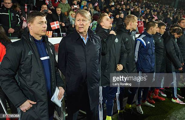 Jon Dahl Tomasson and Age Hareide head coach of Denmark looks on prior to the international friendly match between Denmark and Iceland at MCH Arena...